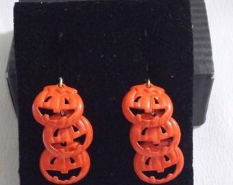 Vintage AvonTriple Pumpkin Drop Clip Earrings