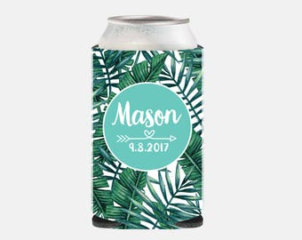 Wedding Favors Beach Wedding Favors for Guests Tropical Wedding Favors Aqua Can Cooler Turquoise Wedding Party Favors Leaf Leaves YZ