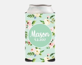 Rustic Wedding Favors Mint Wedding Party Favors Mint Wedding Can Coolers Floral Bridesmaid Gift Ideas Wedding Party Gift Ideas Pink