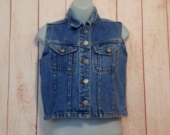 Vintage 90s Blue Denim Button Down Cropped Fitted Vest by She Said Ladies Small S