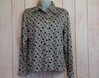 Vintage 70s Ivory and Black Printed Button Down Long Sleeve Blouse Shirt Ladies 14 M