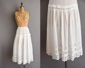 antique cotton skirt. Edwardian white cotton antique eyelet lawn skirt