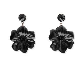 Black Clip On Earrings, Big Earrings, Large flower, Summer Party Earrings