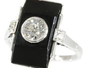 Black onyx center diamond ring rectangular platinum old European cut diamond .65ct brilliant cut diamonds .10ct vintage Art Deco ring 1920s