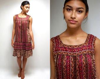 India Print Gauze Dress  // 70s Tent Dress  // Gypsy SunDress  //   BOHEMIAN PRINCESS