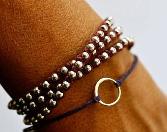 SALE Good Karma bracelet. Sterling silver circle bracelet. Irish linen cord