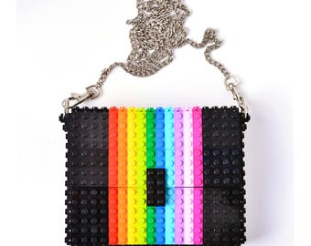 "Black ""Rainbow"" box clutch on a chain made entirely with LEGO® bricks free shipping lego gift purse handbag birthday"