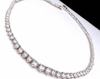 bridal necklace wedding jewelry party necklace 8mm -3mm gradation round rhodium silver plated AAA cubic zirconia collar necklace choker
