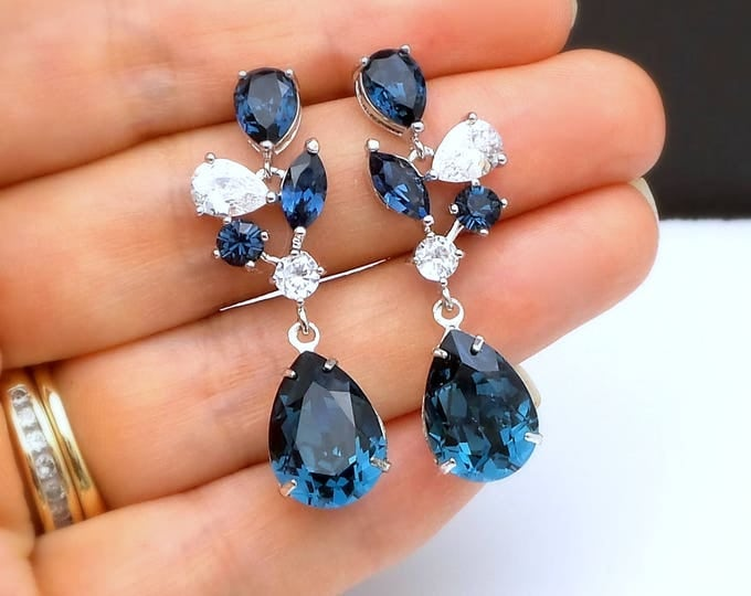 bridal jewelry bridesmaid gift wedding prom pageant party clear cz swarovski multi shape montana blue crystal fancy teardrop post earrings