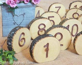 Log Slice Table Numbers, Rustic Wood Bark Country Wedding Decor