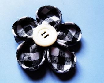 Japan black and white gingham Kanzashi flower BROOCH