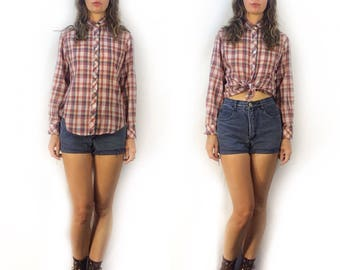 Vintage Jean Nicole checkered plaid button shirt blouse // size small medium // 70s 80s checked retro oxford