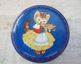 vintage Horner's round candy tin -Miss Kitty, kitten, blue, red, made in England