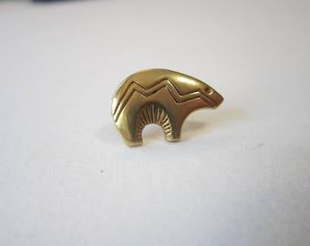 vintage BEAR earring - single stud earring - gold tone ZUNI style bear earring - southwest