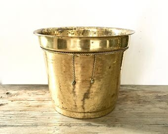Large Solid Brass Cylindrical Planter / Brass Planter with Tassel and roping