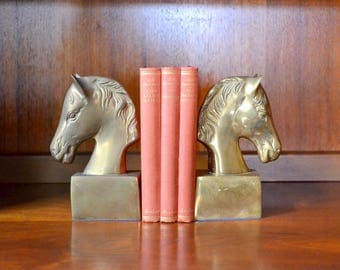 vintage brass horse bookends / equestrian ranch decor / midcentury widwest decor