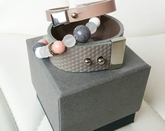 Textured Leather and beads bracelet set