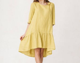 Yellow Linen Dress Boho Dress Lounge wear Tunic