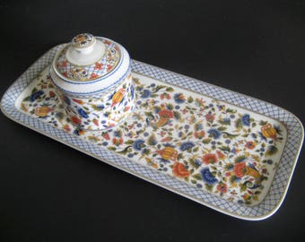 Spal Solafrance Rouen Porcelain Tray and Dresser Box Made in France