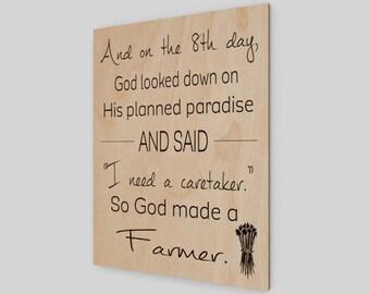 God created a farmer, Wood Print, Farmhouse, Farmer Print, Farmer Decor, Farm Sign, Farm Decor, Rustic Wood Sign, Wood Sign, Home Decor