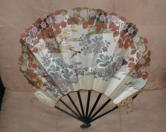 Antique large Japanese Handpainted Folding Fan