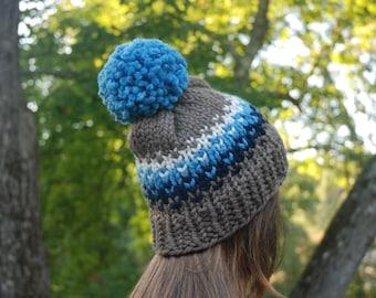 Brown and Blue Fair Isle Knit Hat, Fair Isle Hat, Knit Hat, Women's Knit Hat, Men's Knit Hat, Hand Knit Hat, Knit Hat, Chunky Knit Hat