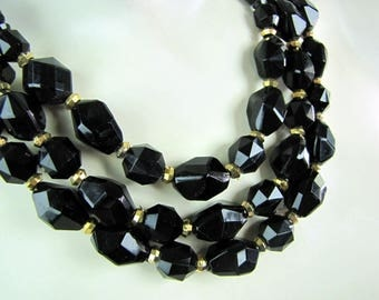 Vintage Black Faceted Lucite Three Strand Beaded Necklace Western Germany