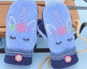 For Kids....Sweater Mittens Heather Blue Felted Wool Embroidered Unicorns Rhinestone Buttons