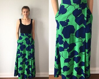 Vintage Maxi Skirt, Maxi Wrap Skirt, Green Maxi Skirt, Casual Skirt, 1970s Maxi Skirt, Summer Skirt, Skirt, Lined Skirt