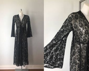 Vintage Black Lace Robe, Vintage Black Negligee, Vintage Ladies Lace Robe, Romantic, Black Lace Robe, Ladies Robe