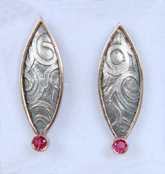 Hand Fabricated Cosmic Series Fused Organic Sterling Silver And Rose Gold Rubellite Tourmaline Earrings, Mothers Day Gift