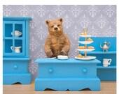 FALL SALE Tea loving grizzly bear diorama art print: Bear Necessities