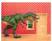 30% OFF SALE Fun T. Rex dinosaur decor art print for kids rooms: Pizza Delivery