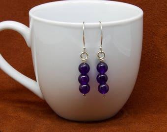 Amethyst and Sterling Silver Dangle Earrings,Women's earrings, Stone Earrings, Purple Earrings, Gemstone Earrings, Stone  E304