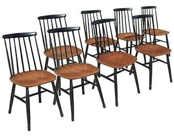 ON SALE Midcentury Dining Chairs 'Set of Eight' by Finnish Designer Ilmari Tapiovaar