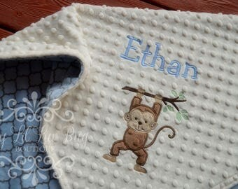Personalized baby blanket with name - monkey baby blanket with hanging branch - custom baby blanket - embroidered stroller blanket bedding