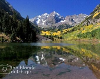 Mountain Photo / Maroon Bells / Aspen Colorado / Photograph of Colorado / Rocky Mountains Photograph (photograph, various sizes)