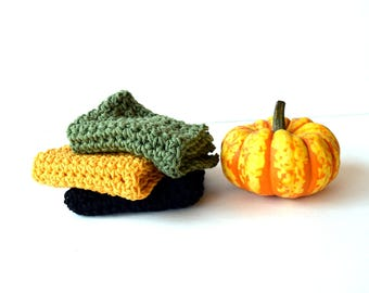 Gourd Happy  Wash Cloths, Wash towels, Crochet, Crocheted, Handmade, Hostess gift, Housewarming gift, Handcrafted, Autumn Colors, 4 Seasons
