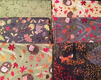 Autumn in Bluebell Woods Bundle from Lewis + Irene - 6 Fat Quarters or Half Yards of Woodlands Scenes