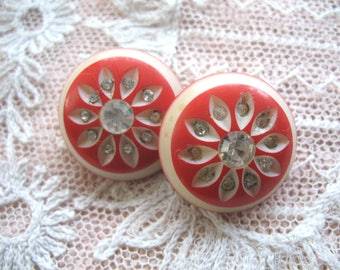 Vintage Plastic and Rhinestone Button Earrings ~  Cream & Red ~ Clip On