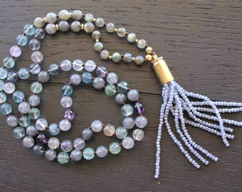 Fluorite Necklace Fluorite Jewelry Rainbow Fluorite Necklace Rainbow Fluorite Jewelry Mala Beads Necklace Mala Beads Jewelry Boho Necklace