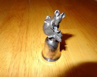 Vintage Hunca Munca Minature Silver Bell  -  Peter Rabbit Series Bell by Beatrix Potter - Hunca Munca Mouse Bell - NE Bell Collectors Bell