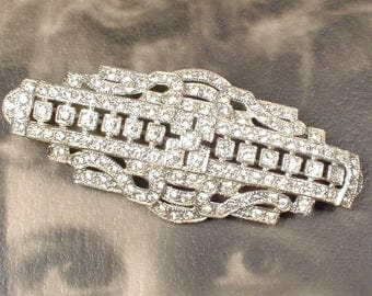 OOAK 1930 Art Deco Bridal Hair Comb/Vintage Wedding Dress Sash Brooch,Paste Rhinestone Silver Antique 1920 Hairpiece, Great Gatsby Headpiece