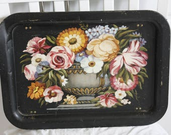 Floral Tin TV Tray Tole Painted - toleware