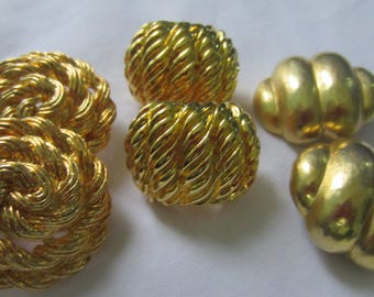Set of Three Pairs of Gold Costume Jewelry Clip-On Vintage Earrings