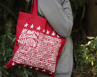 Hamilton Musical Tote Bag | Hamilton Quote Bag | Musical Theater Tote | Red Tote Bag