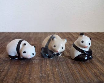 Collection of Three Vintage Porcelain Baby Panda Bear Figurines