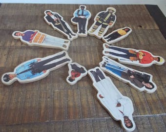 Collection of 10 Vintage Lakeshore Wooden People Jobs Magnets