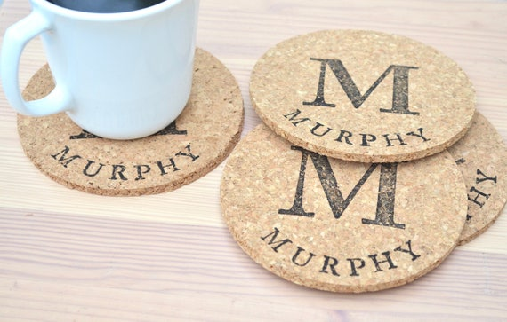 Personalized Round Cork Coasters - set of 4 circle coasters with the name or word of your choice!