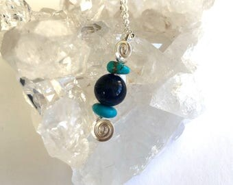 Sodalite & Turquoise Pendant with Sterling Silver Chain